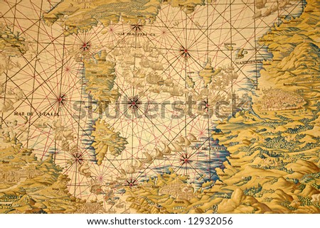 An old tapestry of the mediterranean countries - stock photo