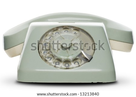 an old telephone on white - with clipping path