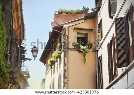 An old traditional houses in Rome - Italy - stock photo