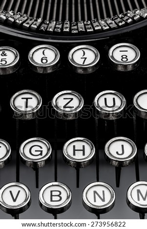 an old typewriter keyboard. symbolic photo for communication in former times - stock photo