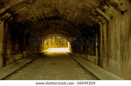 An old underpass in Aberdeen, Scotland tinted in glowing light - stock photo