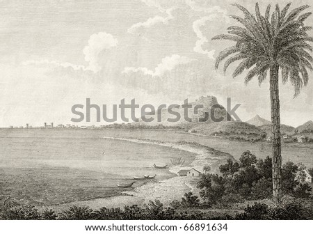An old view of Trapani, Italy, with Erice mountain in background. The original engraving, created by Nicolovius, may be dated to the end of 18th c. - stock photo