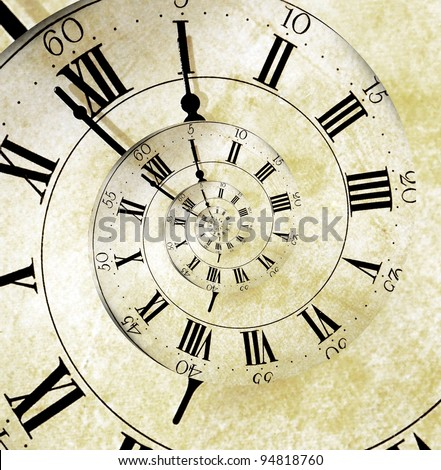 An old vintage clock face with a spiral effect representing the infinite spiral of time. - stock photo