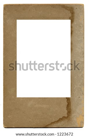 """An old vintage """"grunge"""" photo frame: stained, scratched, water damaged, and way cool. - stock photo"""