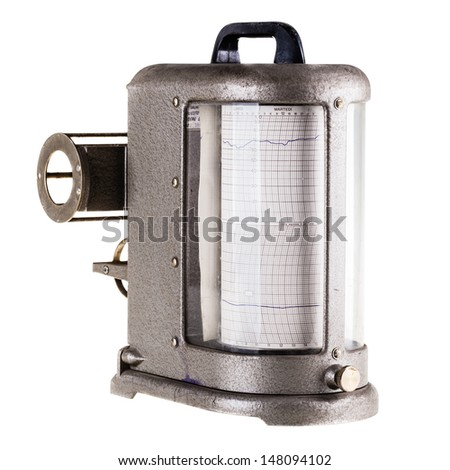 an old vintage hygrometer or seismograph isolated over a white background - stock photo