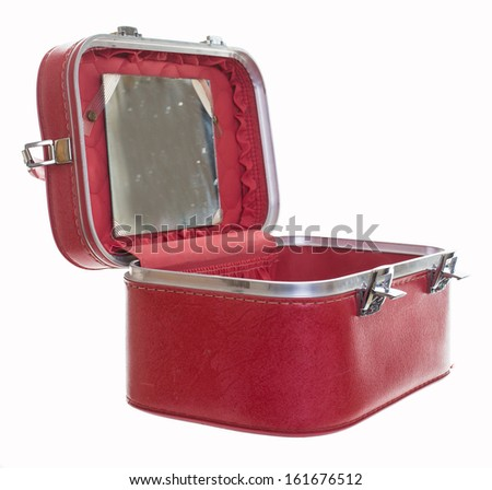 An old vintage red train case or makeup luggage isolated over white background