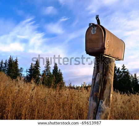 An old, weathered rusty U.S. mailbox in tall grass with a background of spruce trees against a bright blue sky with clouds - stock photo