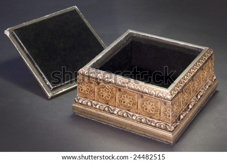 an old wooden box opened - stock photo