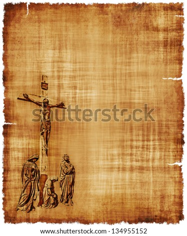 An old worn parchment featuring the Crucifixion of Christ - digital image. - stock photo