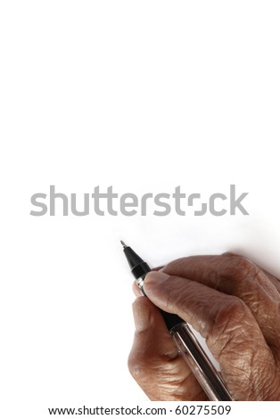 An old wrinkled hand holding a pen against a white paper background - stock photo