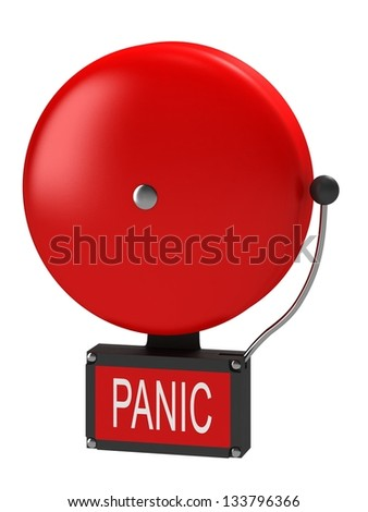 An older style alarm bell with the inscription panic - stock photo