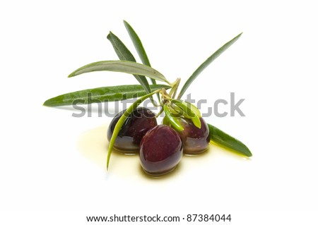 An olive branch with three olives