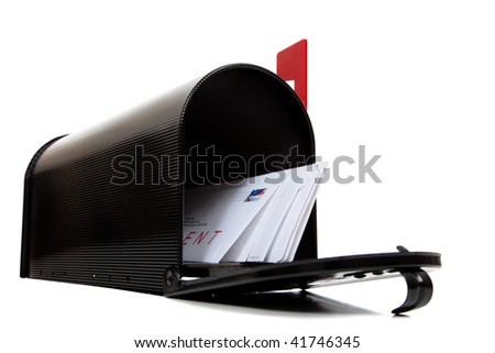 An open black mailbox with letters on a white background - stock photo
