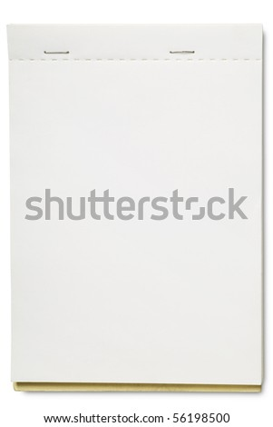 an open blank pad on white