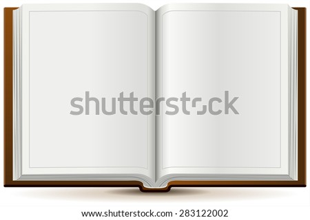 An open book in hardcover. Isolated illustration