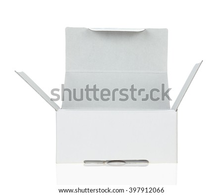 An open box of white cardboard isolated on white background - stock photo