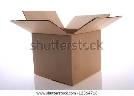 An open  cardboard  box  for  stock  content - stock photo