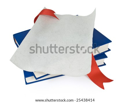 An open diploma with red ribbon over blue books. Isolated on white. - stock photo