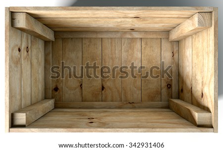 An open empty wooden box on an isolated white studio background - stock photo