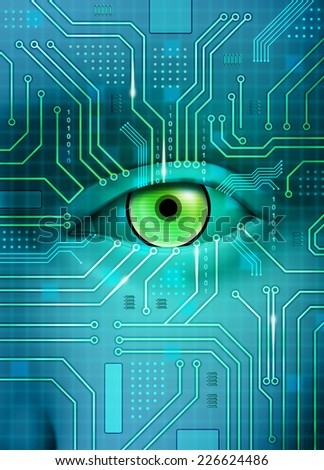 An open eye merges with a printed circuit board. Digital illustration. - stock photo