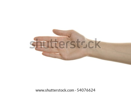 An open female hand, isolated on a white background. - stock photo
