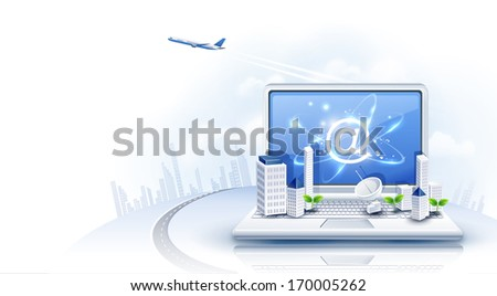 An open laptop with a jet flying above.