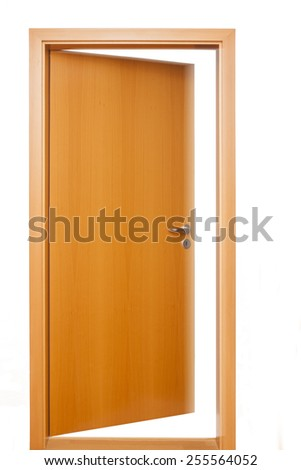 An open light brown wooden door with doorknob and keyhole, with frame, outside view, white light, surrounded by white wall, closeup, detailed view - stock photo