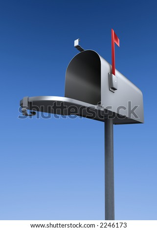an open metal mailbox with raised flag