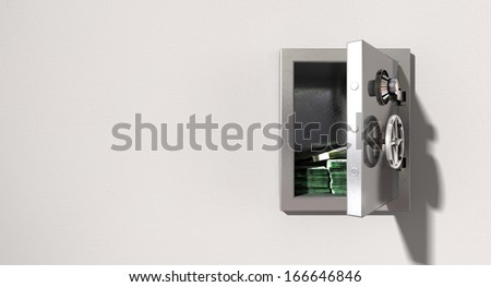 An open metal safe with bundles of australian dollars on a light colored isolated wall background - stock photo