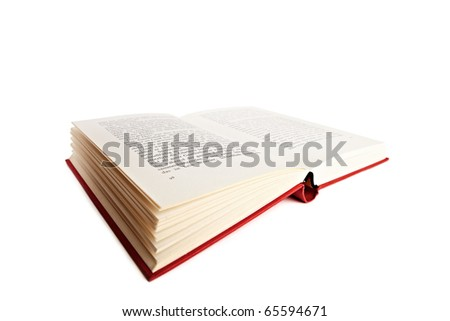An open red book over white backround - stock photo