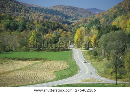 An open road on scenic Route 100 near Stockbridge, Vermont - stock photo