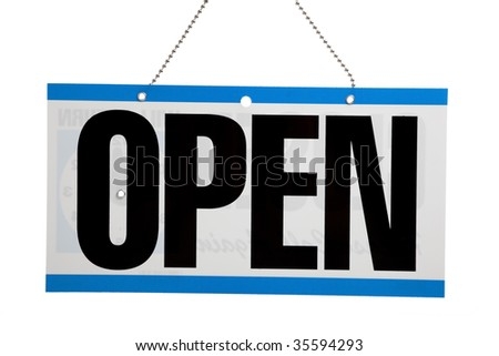 "An ""Open"" sign on a door on a white background"