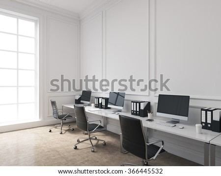 An open space office, tables with computers arranged along the wall, panoramic window to the left. Concept of work. 3D rendering - stock photo