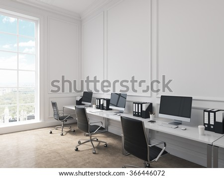 An open space office, tables with computers arranged along the wall, panoramic window with city view to the left. Concept of work. 3D rendering - stock photo