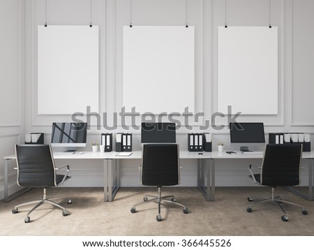 An open space office, tables with computers arranged along the wall, workers facing each other. Three blank boards on the wall. Concept of work. 3D rendering - stock photo