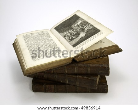 An open 18th century book on early voyages to America - stock photo