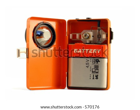 An open vintage flashlight 03 (Retro 04) - stock photo