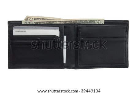 An open wallet with various cards and cash isolated on a pure white background - stock photo