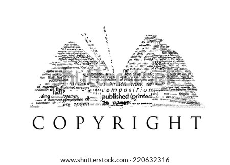"An opened book made of black words on a white background with the word ""COPYRIGHT"" under it - Word cloud - stock photo"