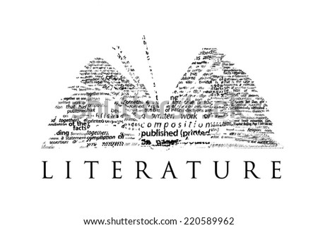 "An opened book made of black words on a white background with the word ""LITERATURE"" under it - Word cloud - stock photo"