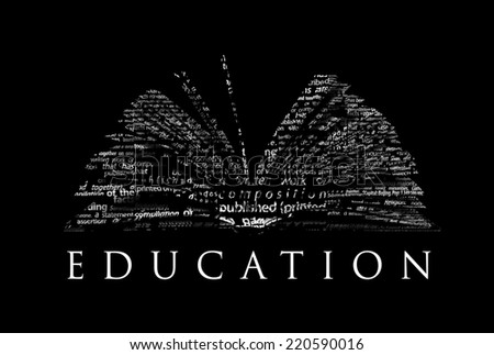 "An opened book made of white words on a black background with the word ""EDUCATION"" under it - Word cloud - stock photo"