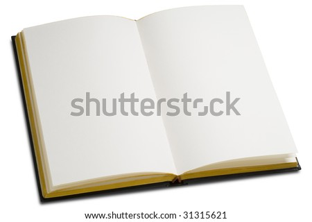 an opened book with blank pages on white - stock photo