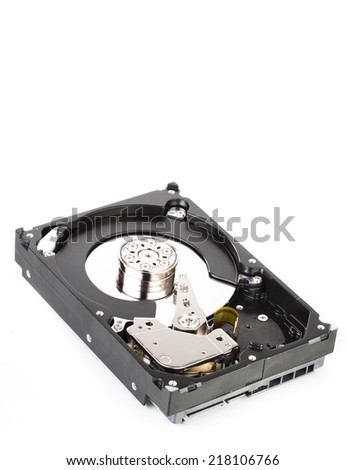 An opened hard drive close up