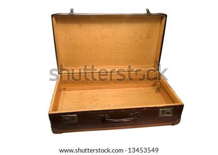 an opened old leather suitcase on white background