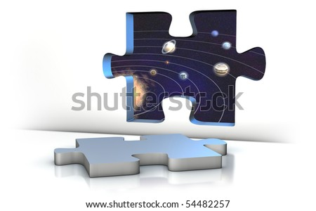 an opened puzzle window to the space - stock photo
