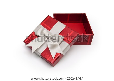 An opened red gift box from above with white ribbon, for any occasion. - stock photo