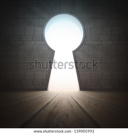 An opening in a wall in the shape of a keyhole - stock photo