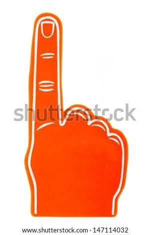 An orange foam fan finger on a white background - stock photo