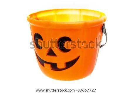 an orange halloween bucket - stock photo