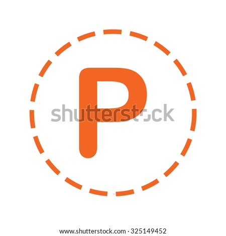 An Orange Icon with a Cutout Outline Isolated on a White Background - P